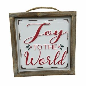 Joy to the World Enamel Wood Frame Sign